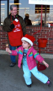 "Rick Law and Granddaughter Lucy ""ringing bells"""